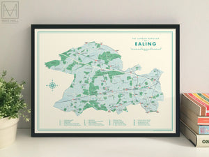 Ealing (London borough) retro map giclee print