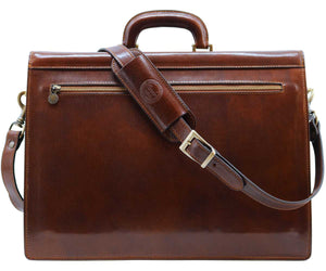 Cenzo Italian Leather 3 Gusset Structured Briefcase Attache 7