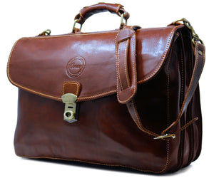 Cenzo Italian Leather Briefcase Messenger Bag 2