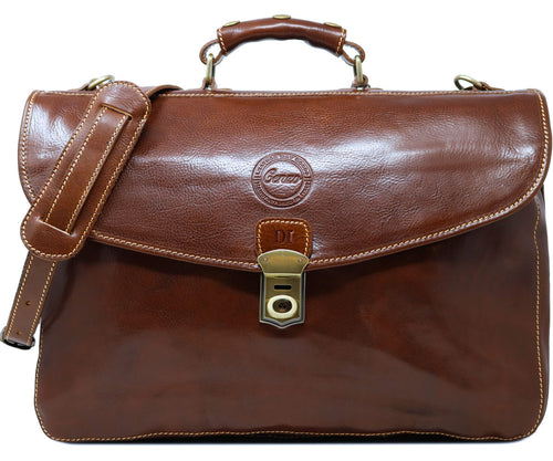Cenzo Italian Leather Briefcase Messenger Bag