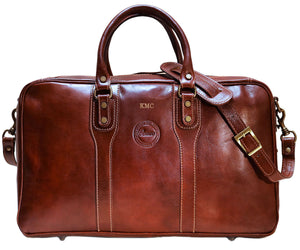 Cenzo Italian Leather Trunk Duffle Travel Bag 2