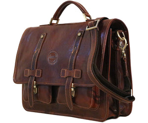 Cenzo Italian Leather Backpack Briefcase Convertible side
