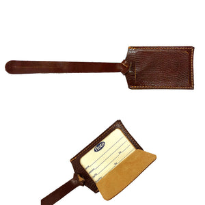 Cenzo Leather Luggage Tag brown 2