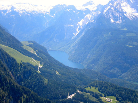 Beautiful overlook view from this top travel destination in Southeaster Germany of Eagles Nest or Berchtesgaden in the Bavarian Alps.