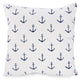 White cushion with blue anchors