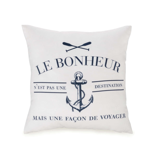 White and blue LE BONHEUR... Cushion