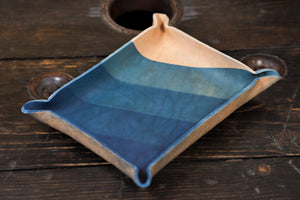 Indigo Dyed and Wet Formed Natural Leather Catchall Tray with Diagonal Indigo Gradient