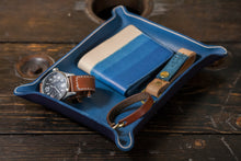 Indigo Dyed and Wet Formed Natural Leather Catchall Tray Solid Indigo with Beveled Natural Edge