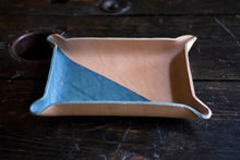 Indigo Dyed and Wet Formed Natural Leather Catchall Tray Solid Indigo with Single Solid Diagonal Indigo Pattern