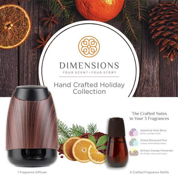 hand crafted holiday diffuser with refill and scents in dark wood