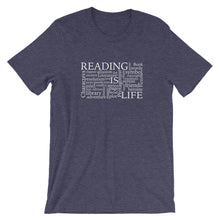 Reading Is Life Most Commonly Written Words Group printed color heather midnight navy t-shirt