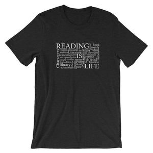 Reading Is Life Most Commonly Written Words Group printed black heather color t-shirt