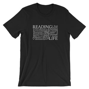 Reading Is Life Most Commonly Written Words Group printed black t-shirt