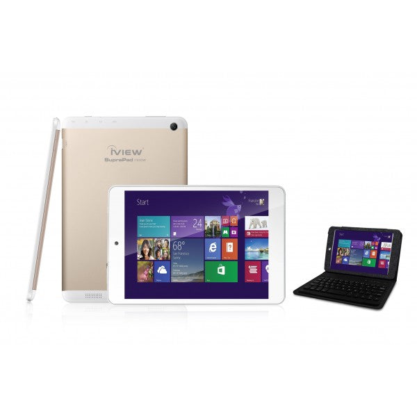 Iview i785QW white Windows tablet with black keyboard case