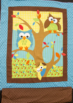 Bright Owl Embroidered Flannel Baby Panel & Coordinating Minky Dot Backing Fabric