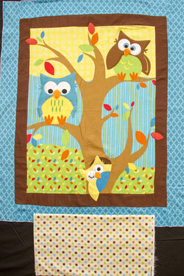 Bright Owl Embroidered Flannel Baby Panel & Coordinating Dot Backing Fabric