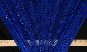 Royal Blue Dot Sequin Knit Fabric