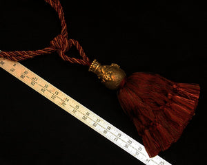 "Tieback, Single 9"" Tassel in DeepRubyRed/Gold"