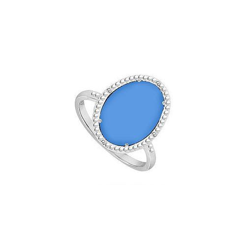 10K White Gold Blue Chalcedony and Diamond Ring 15.08 CT TGW-JewelryKorner-com