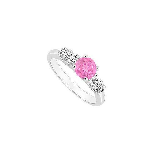 10K White Gold Created Pink Sapphire and Cubic Zirconia Engagement Ring 0.50 CT TGW-JewelryKorner-com