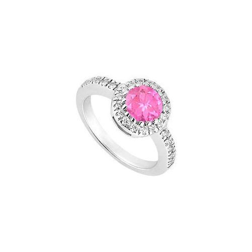 10K White Gold Created Pink Sapphire and Cubic Zirconia Engagement Ring 0.75 CT TGW-JewelryKorner-com