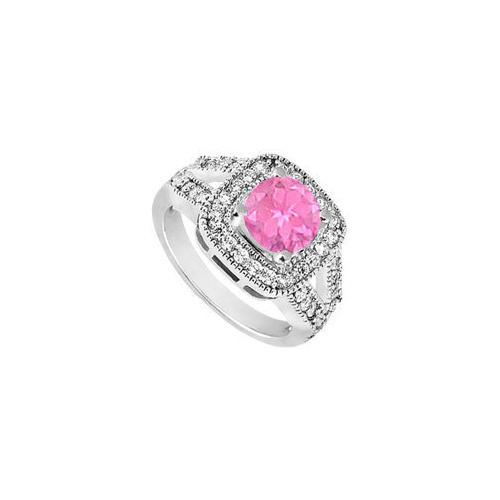 10K White Gold Created Pink Sapphire and Cubic Zirconia Engagement Ring 1.50 CT TGW-JewelryKorner-com