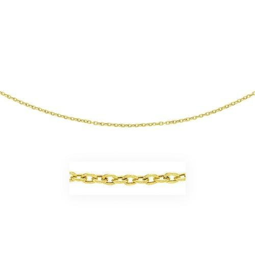 3.5mm 14K Yellow Gold Pendant Chain with Textured Links, size 20''-JewelryKorner-com