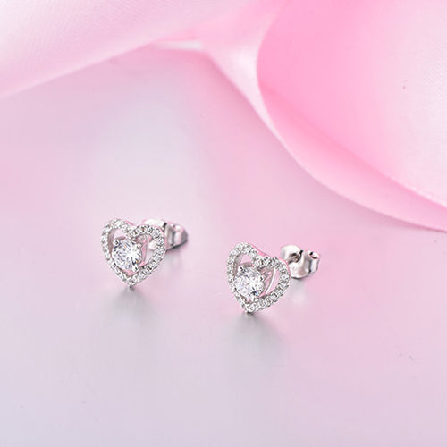 JO WISDOM Fine Jewelry Romantic Heart Stud Earring for Women with CZ Best Gift for Friends