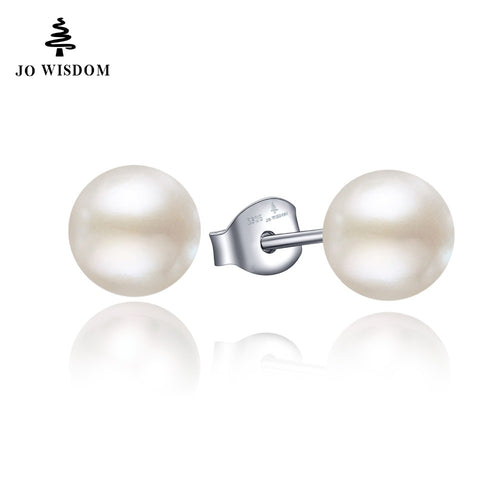 JO WISDOM Freshwater Pearls Earrings for Women Real 925 Sterling Silver Stud earring Best Gift