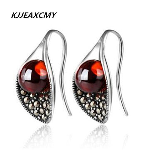 KJJEAXCMY fine jewelry 925 Sterling Silver Silver Garnet Earrings Calla Flower Earrings New Lady