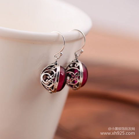The little black silver wholesale network 925 sterling silver red corundum atmosphere for women fashion earrings
