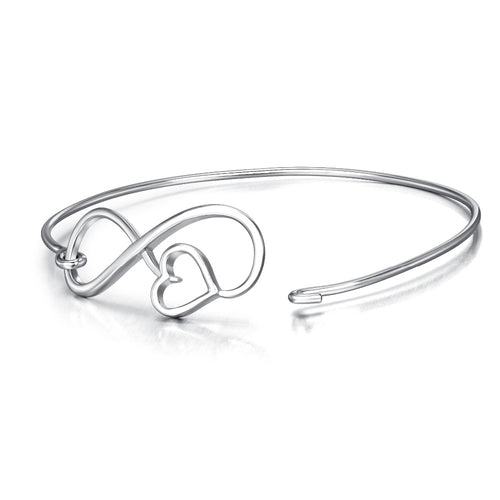 YAFEINI 925 Sterling Silver Adjustable Bracelets & Bangles Love Heart Infinity Love Bangle Charm Jewelry For Women GNS8607