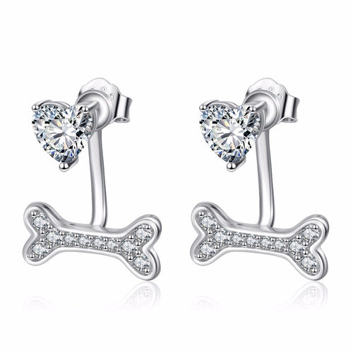 YAFEINI 925 Sterling Silver Cubic Zirconia Crystal Stud Earrings Love Heart Puppy Paw Print Earring For Women PYE0040