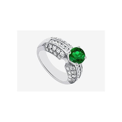Engagement Rings Diamond and Natural Emerald in 14K White Gold 1.80 carat TGW-JewelryKorner-com