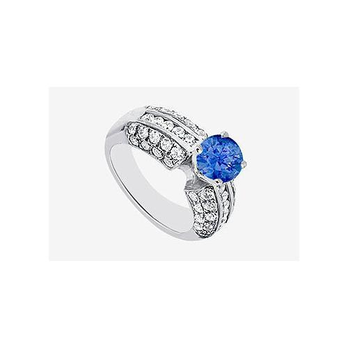 Natural Sapphire with side Diamond Engagement Ring 1.80 carat TGW in 14K White Gold-JewelryKorner-com