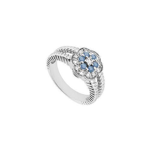 Sapphire and Diamond Floral Ring : 14K White Gold - 0.50 CT TGW-JewelryKorner-com
