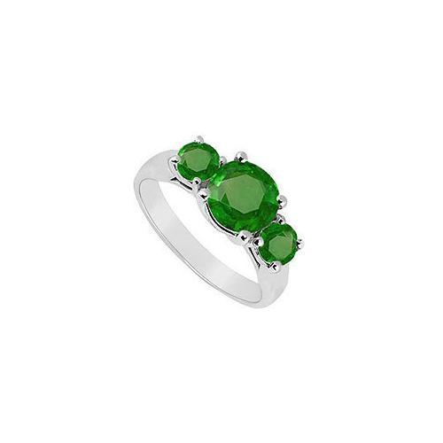 Three Stone Emerald Ring : 14K White Gold - 1.75 CT TGW-JewelryKorner-com