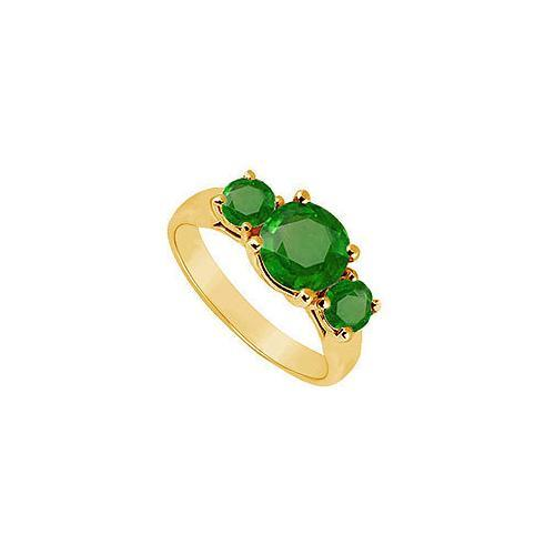 Three Stone Emerald Ring : 14K Yellow Gold - 1.75 CT TGW-JewelryKorner-com