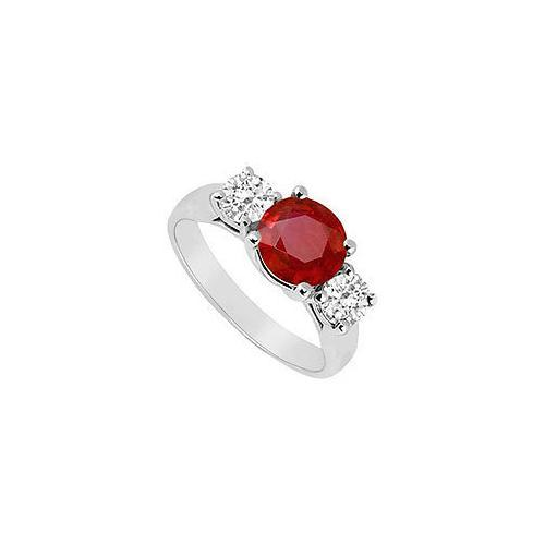 Three Stone Ruby and Diamond Ring : 14K White Gold - 1.75 CT TGW-JewelryKorner-com
