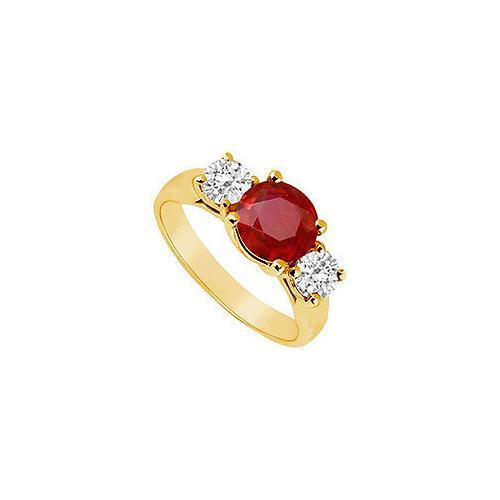 Three Stone Ruby and Diamond Ring : 14K Yellow Gold - 1.75 CT TGW-JewelryKorner-com