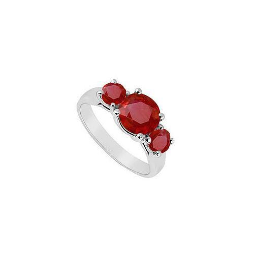 Three Stone Ruby Ring : 14K White Gold - 1.75 CT TGW-JewelryKorner-com