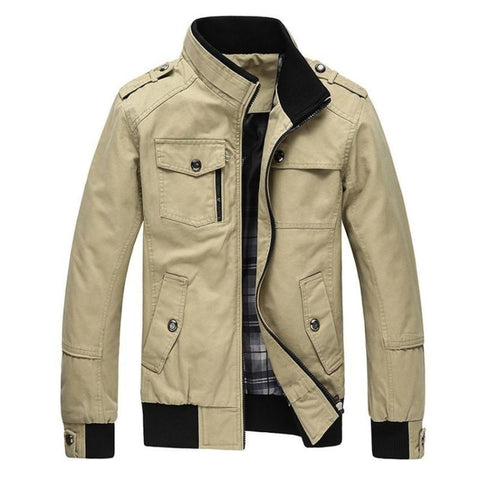 Men Casual Winter Autumn Military Jacket Outerwear Overcoat - Khaki / M - Free Shipping - Fashion - Clothing - $40.00 | The Pamplemousse