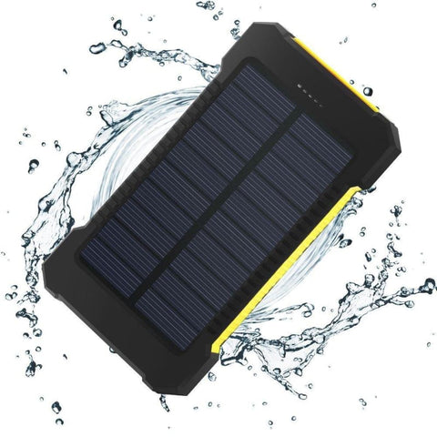 Waterproof Solar Power Bank Dual Usb 20000 Mah Portable External Battery Charger For Mobile Phones - Yellow - Free Shipping - Electronics -