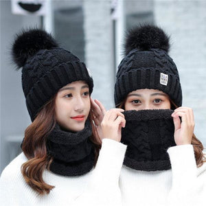 Women Warm Big Fur Pom Ball Beanie Hat And Scarf Set - Black - Free Shipping - Fashion - Accessories - $15.90 | The Pamplemousse