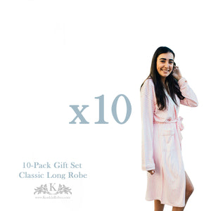 10-Pack Womens Long Bath Robes - Gift Set
