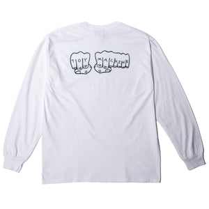 FIST BACK PRINT LS TEE - WHITE