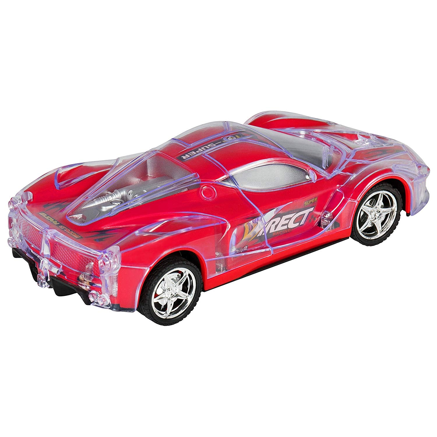 Toy 27Mhz Remote Control Light Up RC Racing Car w/ Flashing LED Lights- Red
