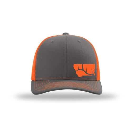 Hunt Montana - Snapback Hat - Charcoal/Neon Orange - ELK ANTLER