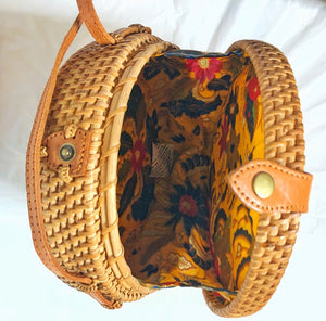 Rattan Brown Bag with Flower Pattern