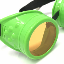 Load image into Gallery viewer, UV Glow in The Dark Steampunk Goggles Retro Round Rave Glasses- Neon Green Frame- Neon Orange Lenses